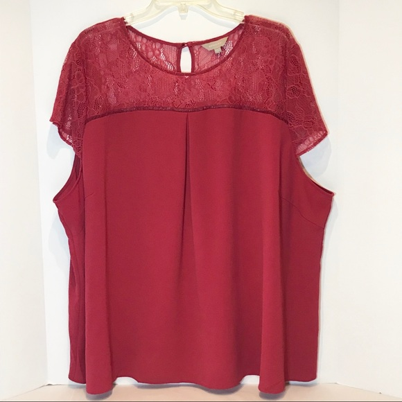 Anthology Tops - Anthology plus size maroon blouse w/lace detail